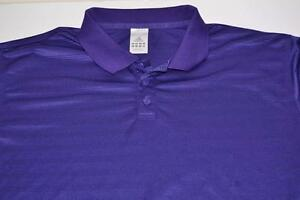 ADIDAS GOLF PURPLE STRIPED DRY FIT POLO SHIRT MENS SIZE XL