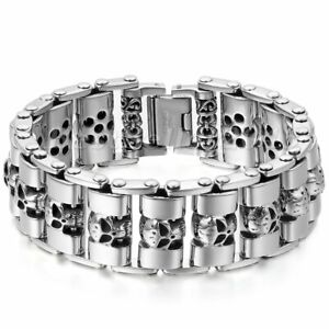Men Heavy Chain Skull Biker Motorcycle Link Silver Tone Stainless Steel Bracelet