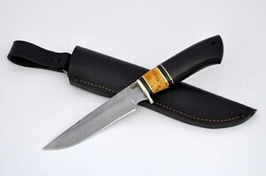 AWESOME ORIGINAL HUNTING KNIFE DAMASCUS 400 LAYERS FIXED BLADE LEATHER SHEATH