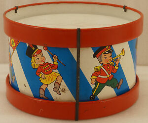 vintage ohio art tin litho drum with