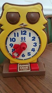 vintage 1975 tomy owl answer clock learning