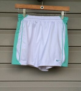 NIKE GIRL'S FIT DRY POLYESTER SPORTS PRACTICE SHORTS WHITE GREEN XLARGE EUC! $30