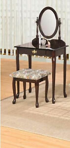 Beautiful Espresso Finish Wood Vanity Set - TABLE WITH MIRROR AND BENCH