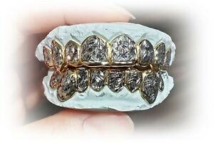 S. Silver 10K or 14K Solid Gold Custom Made 2 Tone Diamond Cut Grill Grillz
