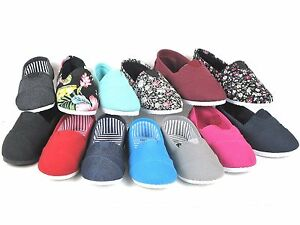 New Kids Boys Girls Simple Canvas Slip On Shoes Flats Loafers 13 Colors Size 9 4