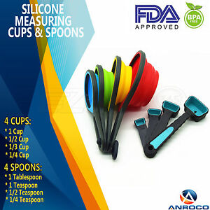 Silicone Collapsible Measuring Cups amp; Measuring Spoons 8 Piece Set 8 Sizes