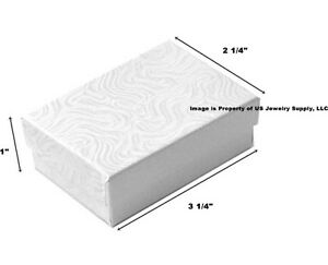1000 White Swirl Cotton Filled Jewelry Packaging Gift Boxes 3 14 x 2 14 x 1