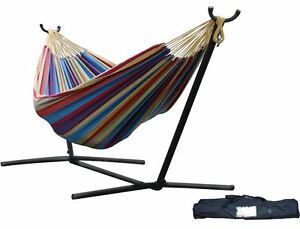 Double 2 Person Hammock Swing w Stand Cotton Fabric Portable Outdoor Camping