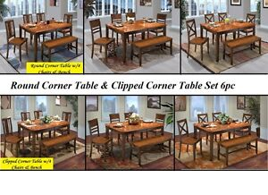 Dining 6 PC SET Rectangular Solid Wood Table w4 Chairs & Bench Two Tone Finish