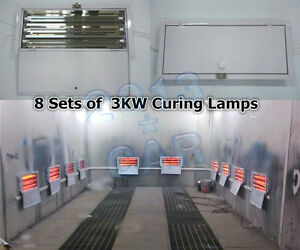 8 Sets x 3KW SprayBaking Booth Infrared Paint Curing Lamps Lights Heating Lamps