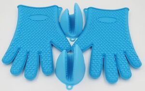 BBQ Heat Resistant Silicone Gloves Silicone Pot Holders Oven Mitts Pack of 4