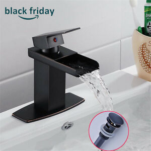 Single Lever Oil Rubbed Bronze Bathroom Sink Faucet Waterfall Vanity Mixer Tap