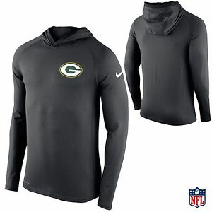Nike Green Bay Packers Hooded Long Sleeve Dri-FIT T-Shirt Football 2016 NFL NEW