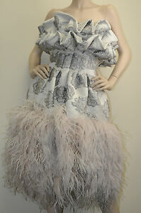 $27930! New Alexander McQUEEN Grey w pink nude ostrich feathers Gown DRESS 40 4