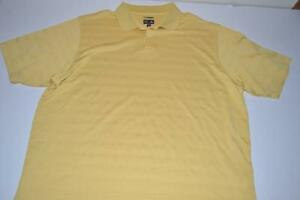 ADIDAS GOLF YELLOW STRIPED DRY FIT POLO SHIRT MENS SIZE XL