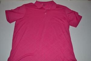 ADIDAS GOLF PINK PLAID DRY FIT POLO SHIRT MENS SIZE XL