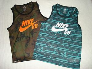 NIKE (2) LG Boys Sleeveless Dri-Fit SB Skateboard Shirts Camouflage