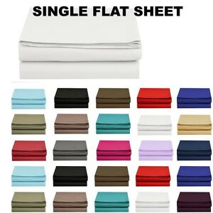 1500 Thread Count Single Flat Sheet Top Sheet Available in 12 Colors All Sizes