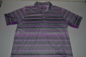 ADIDAS GOLF PURPLE GRAY STRIPED DRY FIT POLO SHIRT MENS SIZE XL