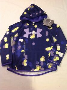 Girls Youth Under Armour ColdGear Storm Big Logo Pullover Hoodie Blue SM NWT