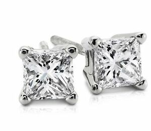 0.50CT Princess Cut Genuine HSI2 Diamonds 14K Solid White Gold Stud Earrings
