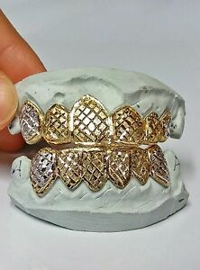 S. Silver 10K or 14K Gold Custom Made 2 Tone Diamond Dust Cut Grill Grillz