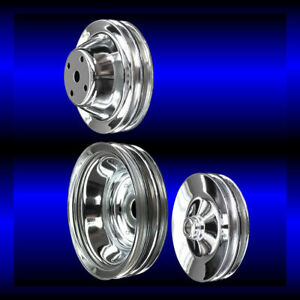 Chrome small block Chevy pulley set 3 pulleys long pump SBC 283 327 350 383 400 $105.99