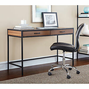 Computer Desk Wood With 2 Storage Drawers Warm Ash Writing Table Home Furniture
