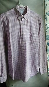 Brooks Brothers Supima Cotton Extra Slim Fit Purple Gingham Sport Shirt Size S