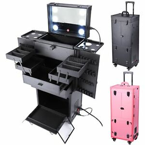Professional Rolling Makeup Trolley Cosmetic Case Lockable Studio Light Mirror