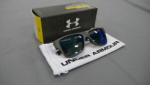 Under Armour Regime Sunglasses • NIB Satin Carbon  Gray Blue Multi