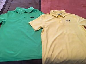 Lot Of 2 UNDER ARMOUR YOUTH BOYS MEDIUM POLO GOLF SHIRTS Yellow
