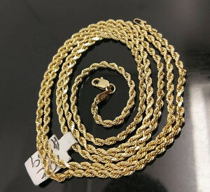 10K Gold Chain Solid Men Women Real Rope 3mm 18 20 22 24 26 28 Inch