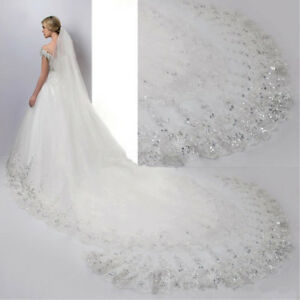 4M White  Lvory Luxury 1T Cathedral Wedding Lace Sequins Long Veil With Comb