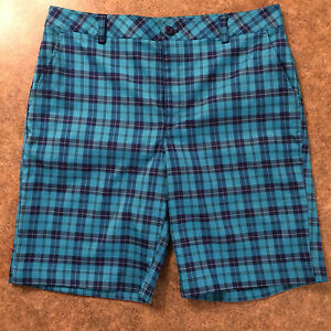 UNDER ARMOUR - UNDER ARMOUR GOLF -PLAID SHORTS- BLUE NAVY TEAL - 34 35 NEW - $79