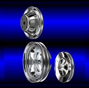 Chrome small block Chevy pulley set 3 pulleys long pump SBC for keyway ps $93.99