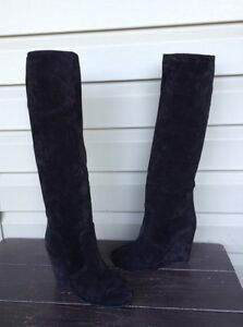 PRADA SUEDE WEDGE TALL KNEE HIGH ZIP SIDE BOOTS BLACK SOLID SIZE 8 EUC! $950