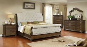 Contemporary Design Est King Size Weathered Oak Finish 4pc Set Bedroom Furniture