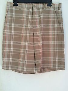 Mens Nike Golf Khaki Orange Plaid Shorts Sz 33 Fit Dry