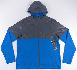 NEW NWT UNDER ARMOUR BLUE & GREY HOODED LOOSE FIT ATHLETIC PERFORMANCE JACKET L