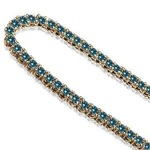23 Carat Blue Diamond One 1 Row Mens Man Designer Chain Necklace 10K Yellow Gold