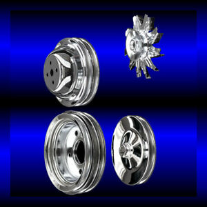 Chrome big block Chevy pulley set 4 pulleys short pump BBC 396 427 454 ac and ps $127.99
