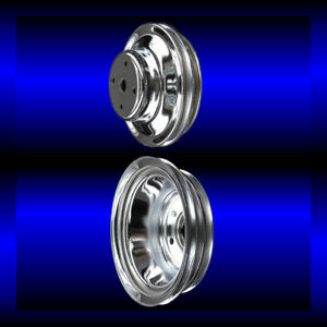 Chrome big block Chevy pulley set 2 pulleys long pump BBC 396 427 454 $78.99