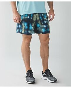 Lululemon Mens Shorts Surge 7 PAVE ME WHITE MULTI PMWM Blue Running M Fitness