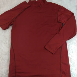 Child Athletic Shirt Sz XXL NIKE DRI-FIT Maroon Long Sleeve Contour Mock Collar