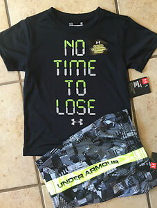 NWT Under Armour Heat Gear Boys No Time to Lose Glow in Dark Tee
