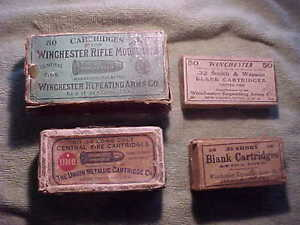 4 VERY OLD ANTIQUE AMMUNITION BOXES - WINCHESTER & UMC - FREE SHIPPING