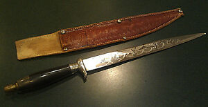 Vintage Spanish Mexican Engraved Vendetta Bowie Fighting Knife