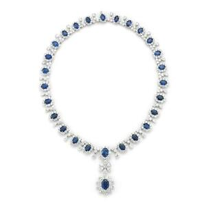Natural 81.08  ct SPECTACULAR OVAL CUT SAPPHIRE DIAMOND NECKLACE  PLATINUM