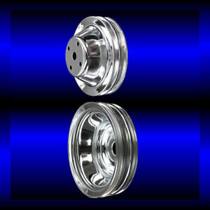 Chrome small block Chevy pulley set 2 pulleys long pump SBC for alt ac and ps $73.99